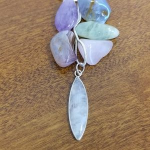 Jewelry - Rainbow moonstone sterling silver pendant